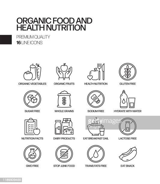 simple set of organic food and health nutrition related vector line icons. outline symbol collection - fatty acid stock illustrations