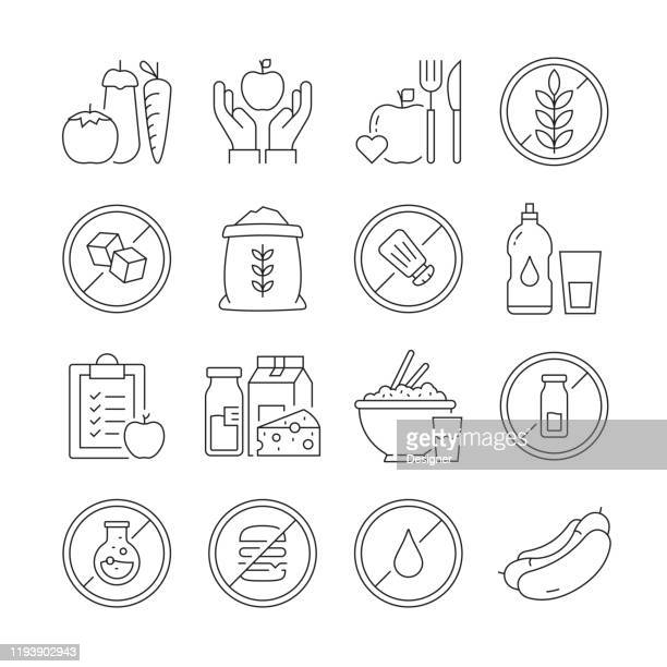 simple set of organic food and health nutrition related vector line icons. outline symbol collection. editable stroke - fatty acid stock illustrations