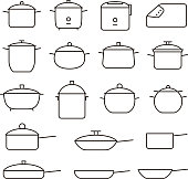 Simple Set of Pans and pots Related Vector Line Icons