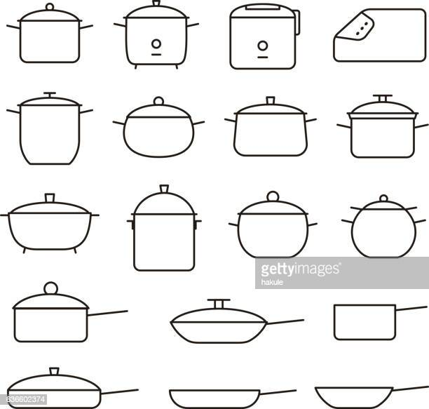 ilustraciones, imágenes clip art, dibujos animados e iconos de stock de simple set of pans and pots related vector line icons - ollas y cacerolas