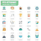 Simple Set of Pets and Veterinary Related Vector Flat Icons