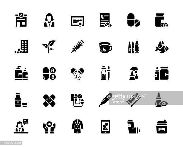 illustrazioni stock, clip art, cartoni animati e icone di tendenza di semplice set di icone vettoriali correlate alla farmacia. raccolta simboli. - farmacia