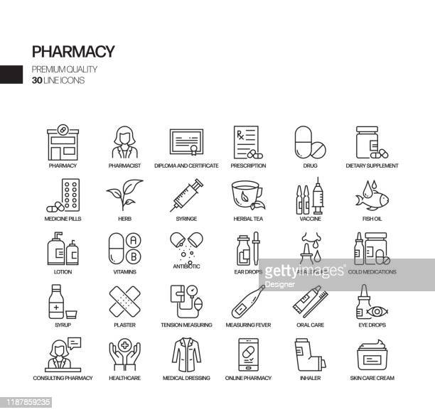 simple set of pharmacy related vector line icons. outline symbol collection. - injecting stock illustrations