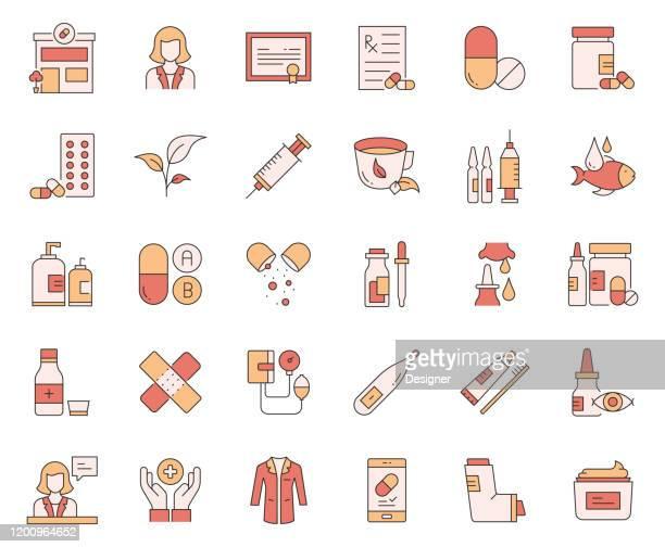 illustrazioni stock, clip art, cartoni animati e icone di tendenza di semplice set di icone di linee vettoriali correlate alla farmacia. insieme outline symbol. - farmacia