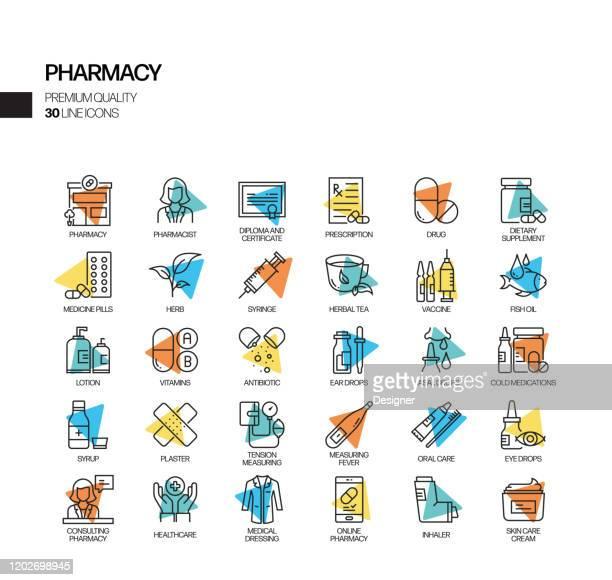 illustrazioni stock, clip art, cartoni animati e icone di tendenza di semplice set di icone della linea di riflettori vettoriali correlate alla farmacia. insieme outline symbol. - farmacia