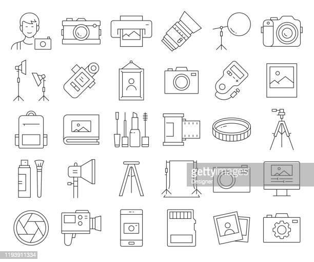 写真関連のベクトルラインアイコンのシンプルなセット。アウトライン記号コレクション。編集可能なストローク - リフレクター点のイラスト素材/クリップアート素材/マンガ素材/アイコン素材