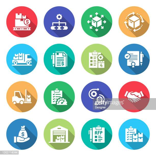 simple set of procurement process related vector flat icons. symbol collection - achievement stock illustrations