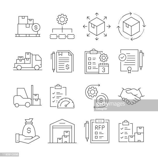 einfache menge von beschaffungsprozess verwandte vektorlinie icons. gliederungssymbolsammlung. bearbeitbarer strich - budget stock-grafiken, -clipart, -cartoons und -symbole