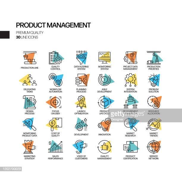 illustrations, cliparts, dessins animés et icônes de simple ensemble de product management related spotlight vector line icons. collection de symboles de contour. - vue partielle