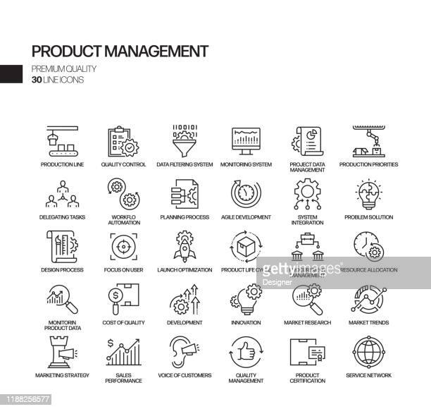 simple set of product management related vector line icons. outline symbol collection. - cross section stock illustrations