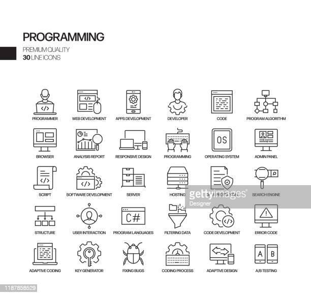 einfache menge der programmierung verwandte vektor linie icons. gliederungssymbolsammlung. - programmierer stock-grafiken, -clipart, -cartoons und -symbole