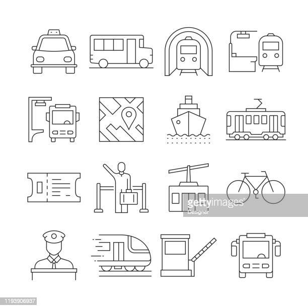 simple set of public transport related vector line icons. outline symbol collection. editable stroke - public transportation stock illustrations