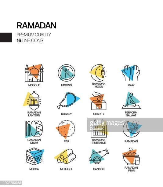 simple set of ramadan kareem related spotlight vector line icons. outline symbol collection. - hari raya stock illustrations