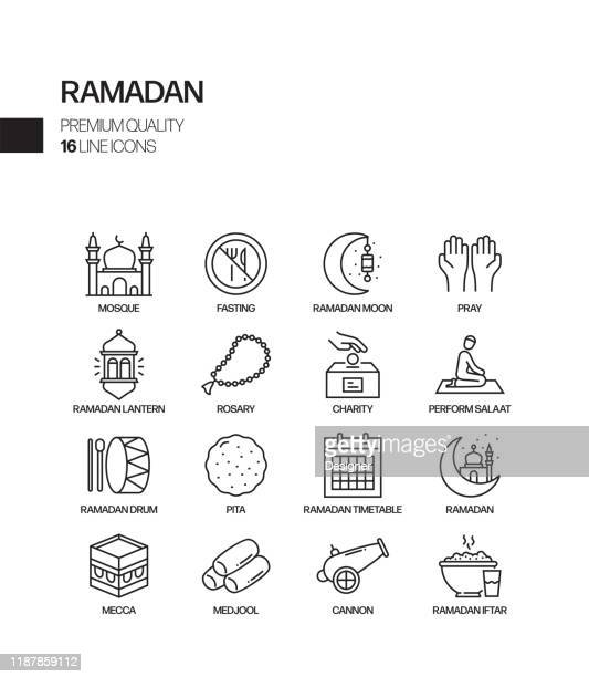 simple set of ramadan kareem related vector line icons. outline symbol collection. - hari raya stock illustrations