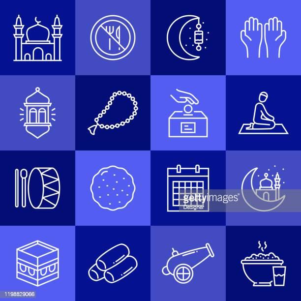 ラマダンカリーム関連ベクトルラインアイコンのシンプルなセット。アウトライン記号コレクション。 - ラマダン点のイラスト素材/クリップアート素材/マンガ素材/アイコン素材