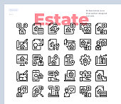 Simple Set of Real Estate .Vector Icons. Editable Stroke. 48x48 Pixel Perfect