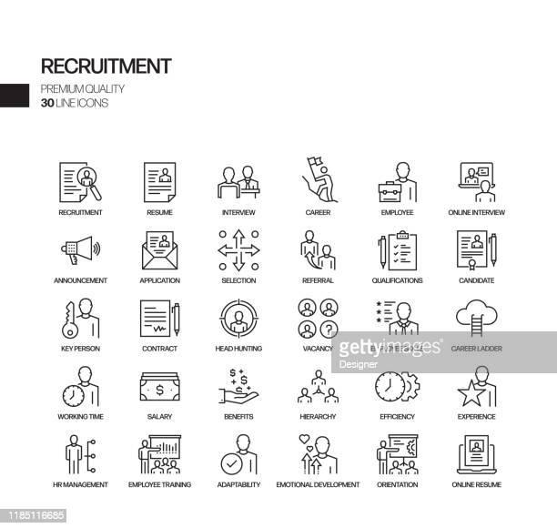 採用関連のベクトルラインアイコンのシンプルなセット。アウトライン記号コレクション。 - 申込書点のイラスト素材/クリップアート素材/マンガ素材/アイコン素材