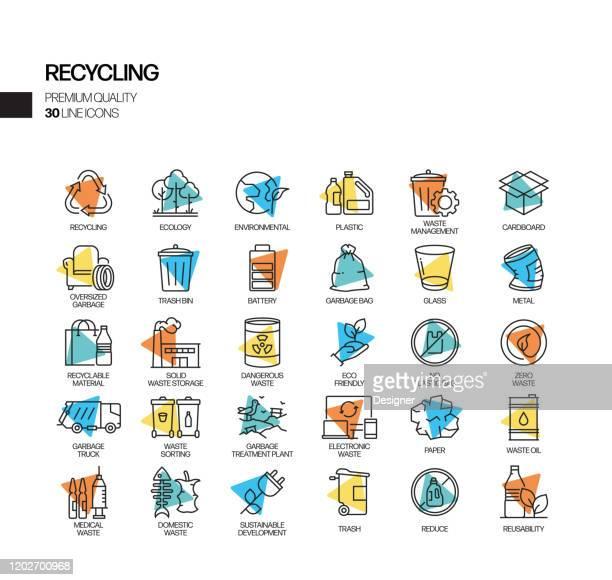 リサイクル関連のスポットライトベクトルラインアイコンのシンプルなセット。アウトラインシンボルコレクション - 再生利用点のイラスト素材/クリップアート素材/マンガ素材/アイコン素材