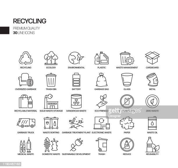 simple set of recycling related vector line icons. outline symbol collection - garbage stock illustrations