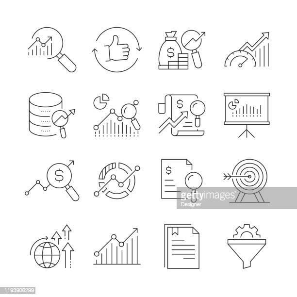 研究と分析関連のベクトルラインアイコンのシンプルなセット。アウトライン記号コレクション。編集可能なストローク - 改善点のイラスト素材/クリップアート素材/マンガ素材/アイコン素材