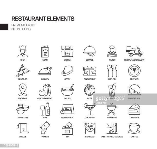 ilustrações de stock, clip art, desenhos animados e ícones de simple set of restaurant related vector line icons. outline symbol collection - arranjar