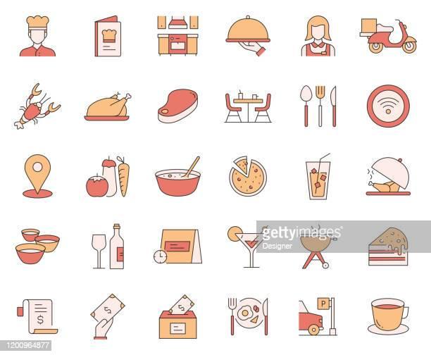stockillustraties, clipart, cartoons en iconen met eenvoudige set van restaurant gerelateerde vector lijn iconen. outline symbol-collectie - eetklaar