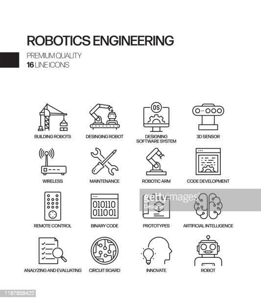 illustrazioni stock, clip art, cartoni animati e icone di tendenza di semplice set di icone di linee vettoriali correlate all'ingegneria robotica. insieme outline symbol. - automatizzato