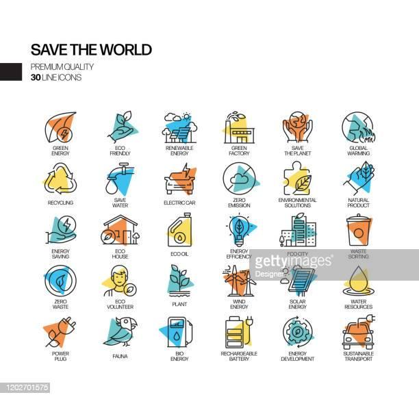 ilustrações de stock, clip art, desenhos animados e ícones de simple set of save the world related spotlight vector line icons. outline symbol collection - desmatamento