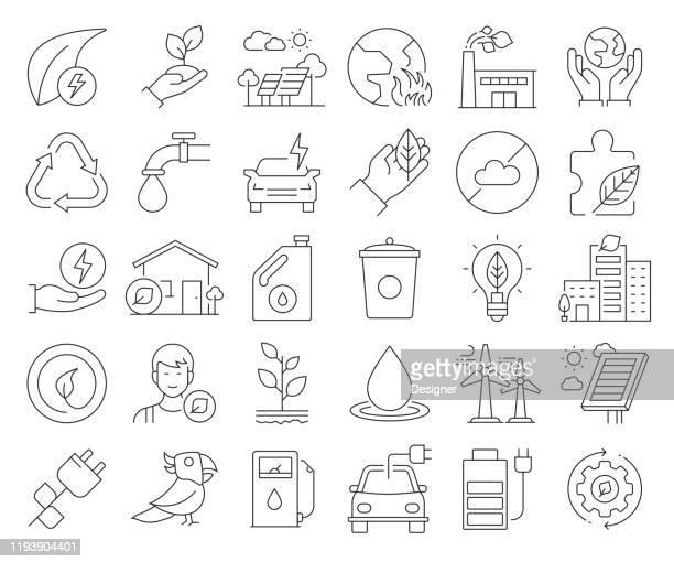 ilustrações de stock, clip art, desenhos animados e ícones de simple set of save the world related vector line icons. outline symbol collection. editable stroke - desmatamento