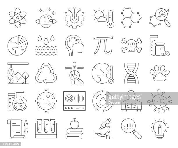 simple set of science related vector line icons. outline symbol collection. editable stroke - chemical formula stock illustrations