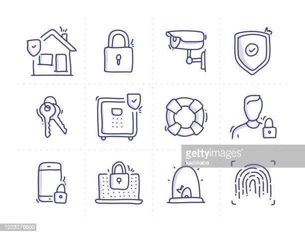 simple set of security related doodle vector line icons - padlock stock illustrations