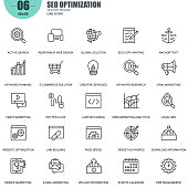 Simple set of seo optimization related vector line icons