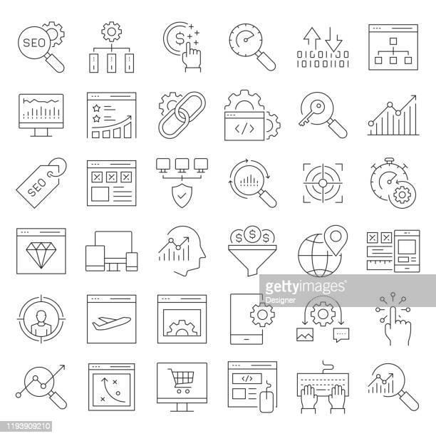 seo 関連ベクトルライン アイコンの単純なセット。アウトライン記号コレクション。編集可能なストローク - ワイヤーフレーム作成点のイラスト素材/クリップアート素材/マンガ素材/アイコン素材