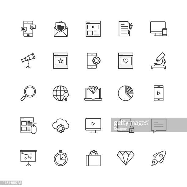 simple set of seo related vector line icons - www stock illustrations
