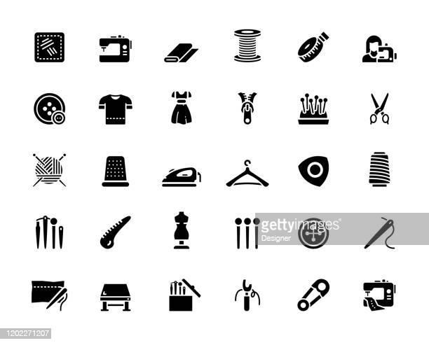 ilustrações, clipart, desenhos animados e ícones de conjunto simples de ícones vetoriais relacionados à costura. coleção de símbolos - rolo
