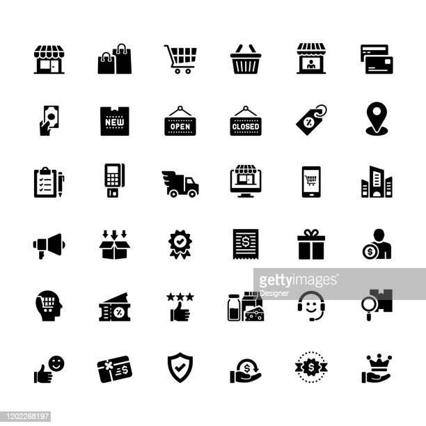 ilustraciones, imágenes clip art, dibujos animados e iconos de stock de conjunto simple de iconos vectoriales relacionados con las compras y las compras. colección de símbolos. - boutique