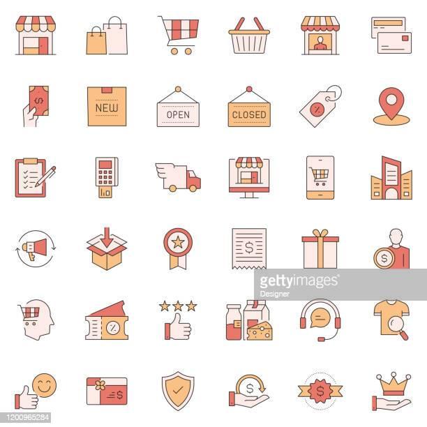 ilustraciones, imágenes clip art, dibujos animados e iconos de stock de conjunto simple de iconos de línea vectorial relacionadas con las compras y las compras. colección de símbolos de esquema. - boutique