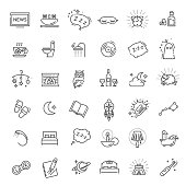 Simple Set of Sleep Related Vector Line Icons