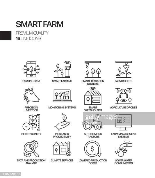 simple set of smart farm related vector line icons. outline symbol collection. - smart stock illustrations