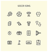 Simple Set of Soccer Related Vector Line Icons. Contains such Icons as Stadium, Field, Championship Cup and more.