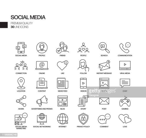 simple set of social media related vector line icons. outline symbol collection - following stock illustrations