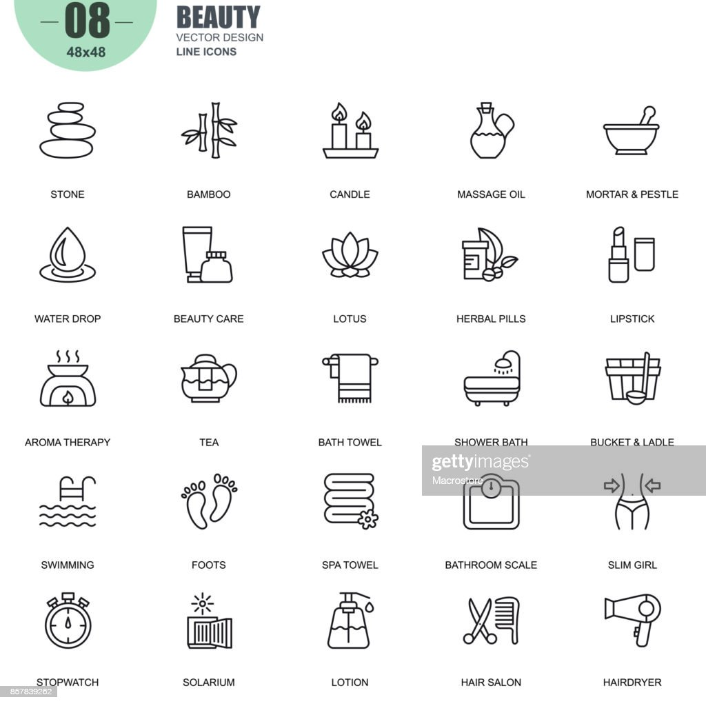 Simple set of spa and beauty related vector line icons