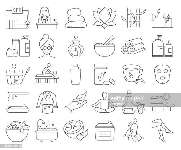 einfache satz von spa-elemente verwandte vektor linie icons. gliederungssymbolsammlung. bearbeitbarer strich - schönheit stock-grafiken, -clipart, -cartoons und -symbole
