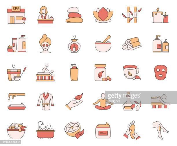 ilustrações de stock, clip art, desenhos animados e ícones de simple set of spa elements related vector line icons. outline symbol collection. - massagista