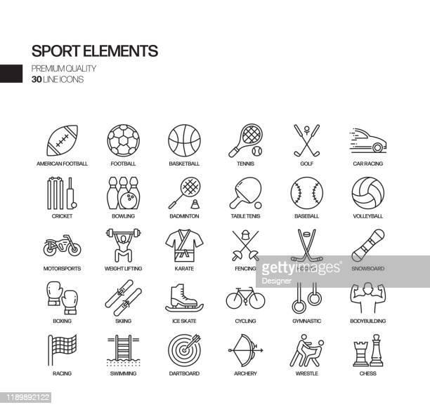 スポーツ要素関連ベクトルラインアイコンのシンプルなセット。アウトライン記号コレクション - sport of cricket点のイラスト素材/クリップアート素材/マンガ素材/アイコン素材