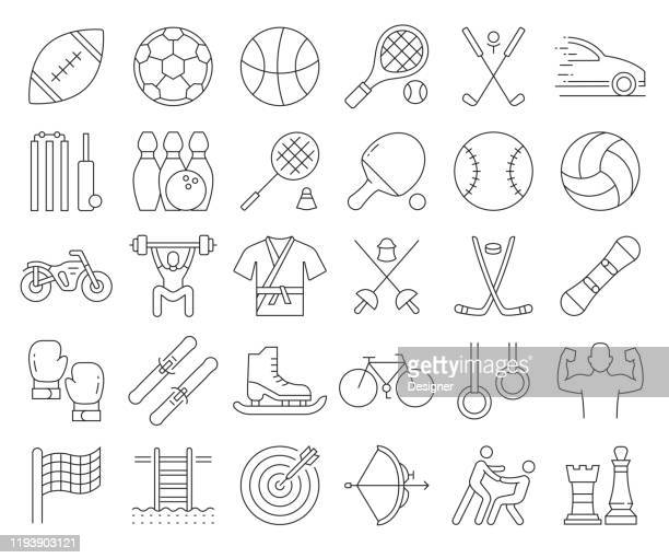 simple set of sports elements related vector line icons. outline symbol collection. editable stroke - table tennis stock illustrations