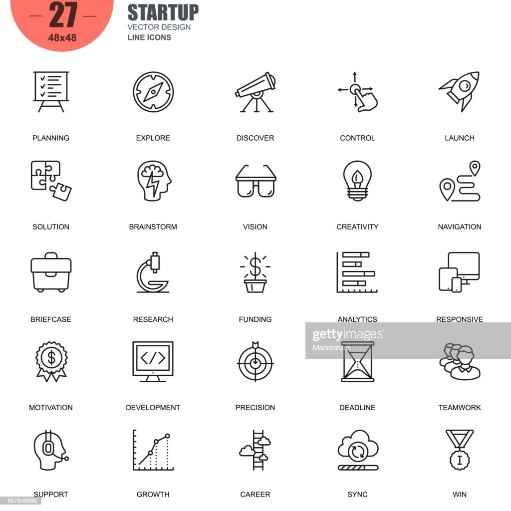 Simple set of startup related vector line icons