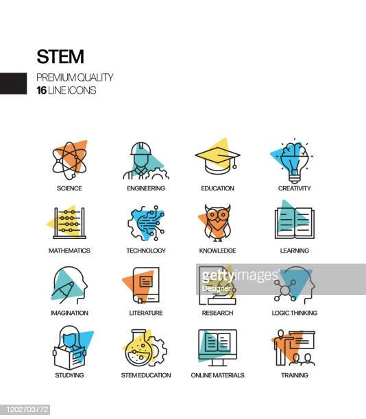 simple set of stem education related spotlight vector line icons. outline symbol collection - stem topic stock illustrations