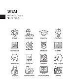 Simple Set of STEM Education Related Vector Line Icons. Outline Symbol Collection