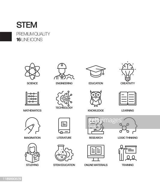 simple set of stem education related vector line icons. outline symbol collection - stem topic stock illustrations
